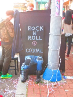 A makeshift stall set up on the street to sell the best treats: complete with a JD, red wine and margarita line up.