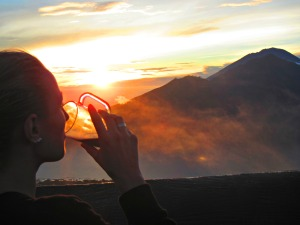 Watching the sunrise over Mt. Badur, Bali
